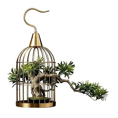 Árbol Bonsai Artificial Nuevo Chino artificial Planta de tiesto, adornos de joyería Hotel Villa Sala de estar Porche creativo aleación jaula de pájaros, de bienvenida de pino artificial Bonsai Bonsái