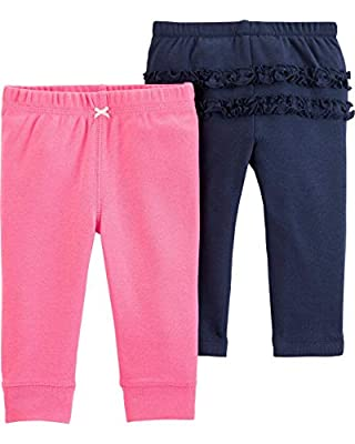 Carter's Baby Girls' 2-Pack Pants (6 Months, Pink/Blue)