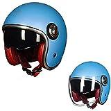 ZHXH Casco de moto Harley, casco de moto retro de 3/4 de cara abierta para hombres y mujeres adultos con doble lente en línea con certificación de punto/multicolor Opcional,