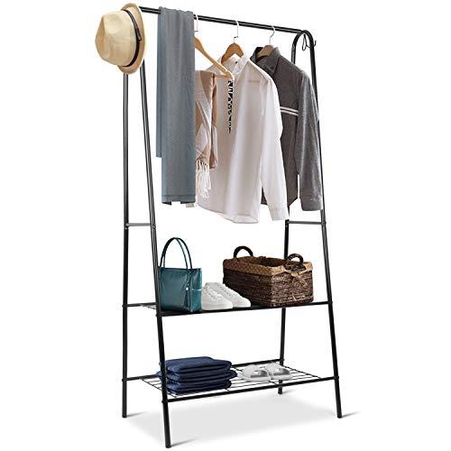 INTEY Kleiderständer Metall, Kleiderstange mit Schuhablage, 158 x 75 x 43 cm Wäscheständer, 4 Haken, Belastbarkeit 40 kg, Schwarz