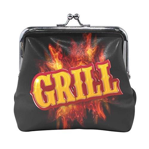 Coin Purse Grill Label mit Flame Black Cute Coin Purse Retro Geldbeutel mit Kiss-Lock-Schnalle Kleine Brieftasche Kartenwechselhalter