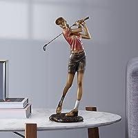 At Thirty ゴルフキャラクター彫刻リビングルームTVキャビネットワインキャビネットソフトデコレーションオフィス本棚ライトラグジュアリーデコレーション (Color : Women (color))