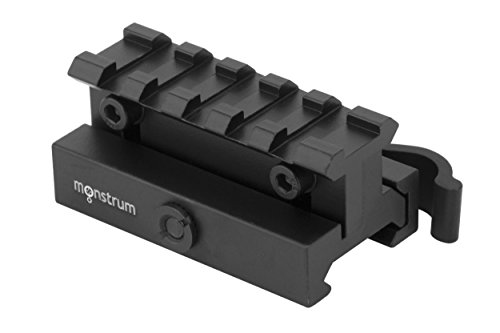 Monstrum Lockdown Series Adjustable Height Picatinny Riser Mount with Quick Release   2.5 inch