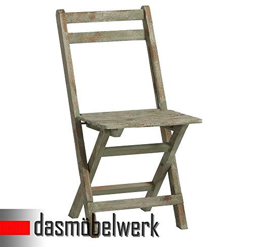 dasmöbelwerk Klappstuhl Stuhl Deko Sitzmöbel klappbar Shabby Chic Design Alt-Grün 13.170.05