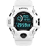 KXAITO Men's Watches Sports Outdoor Waterproof Military Watch Date Multi Function Tactics LED Alarm Stopwatch (14_White)