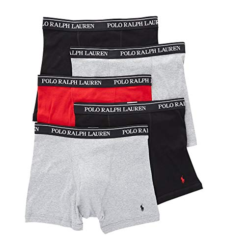 Polo Ralph Lauren Classic Fit w/Wicking 5-Pack Boxer Briefs Andover Heather/Rl2000 Red/Black LG