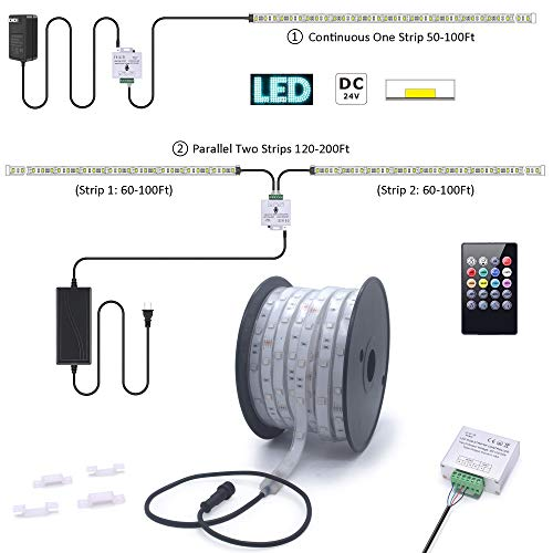 200Ft (2x100Ft) Long Run Waterproof IP67 24V RGB LED Strip Rope Light Music Sound SYNC Controller for Home Theater Backlight Crown Molding Accent Outdoor Roof Decks Railings Colors Lighting Decoration 5