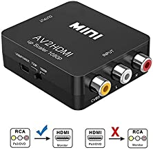 Sisthirth Adapter from AV to HDMI, 1080P RCA Composite CVBS AV to HDMI Video Audio Converter Adapter PAL/NTSC with USB Charge Cable for PC Laptop Xbox PS4 PS3 TV STB VHS VCR Camera DVD (AV-HDMI)