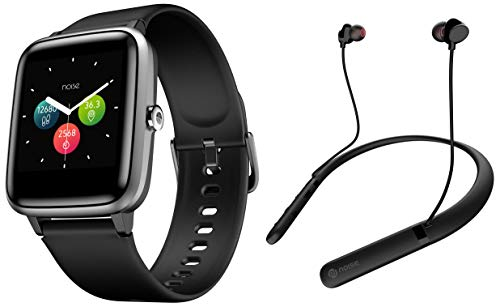 Noise Colorfit Pro 2 Full Touch Control Smart Watch (Jet Black) with Noise Tune Charge Wireless Bluetooth Earphones (Jet Black)