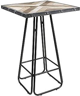 BigBuy Home S0111194 Table d'appoint Industrielle en Fer, Bois de Sapin 70 x 70 x 106 cm, Matériaux Divers, Multicolore