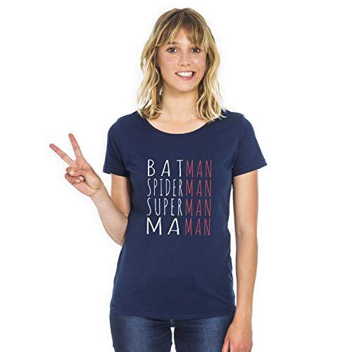 Tshirt Batman Spiderman Superman Maman Navy - Tshirt 100% Coton de qualité. Tshirt imprimé en France