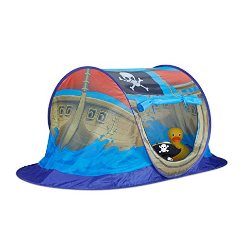 Relaxdays 10022451 Spielzelt Piratenschiff für Jungen, Pop Up Kinderzelt für Innen & Outdoor, Piratenzelt HxBxT 68x170x85cm, blau