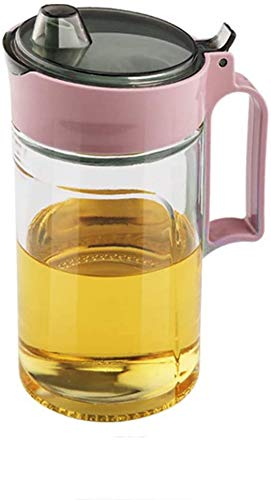 Botella de vertido de aceite de vidrio Contiup con tapa protectora Dispensador aceite y vinagre Dispensador de jarabe de arce Botella de vidrio Vinagrera de aceite No Drip Pour spout 22Oz, púrpura 1pc