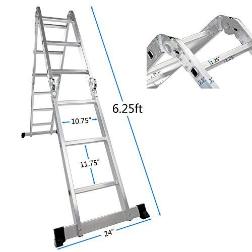 Luisladders 12.5 FT Folding Ladder Multi-Purpose Aluminium Extension 7 in 1 Step Heavy Duty Combination EN 131 Standard