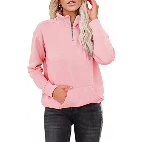 FRMUIC Women's Solid Color Fleece Sweatshirt Zipper Lapel Long Sleeve Pocket Sports Pullover (Medium, Pink)