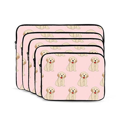 KDIEDIEAS Labrador Golden Retriever Dog Seamless On Pink 12/13/15/17 Inch Laptop Sleeve Bag for MacBook Air 13 15 MacBook Pro Portable Zipper Laptop Bag Tablet Bag,Diving Fabric,Waterproof