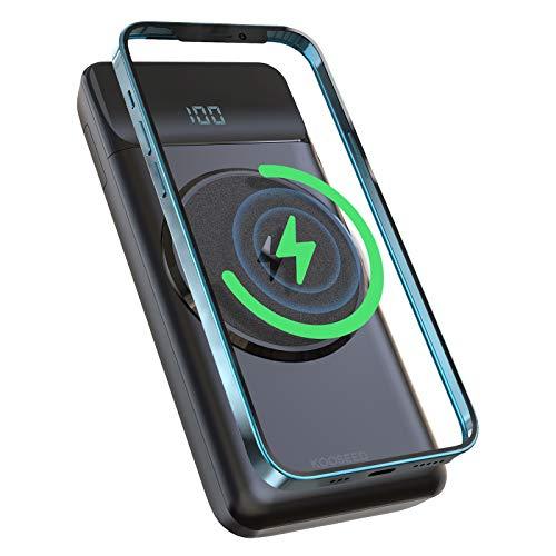 Wireless Powerbank 10000mAh, KOOSEED 15W Magnetische Power Bank PD 22,5W Kabelloser Externer Akku mit LED Anzeige Unterstützt 3 Geräte gleichzeitig, Kompatibel mit iPhone Samsung Huawei Xiaomi