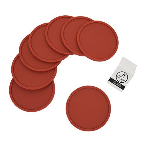 Coastee sottobicchieri in silicone, 8pezzi, nero, per bar, soggiorno, cucina Colore: rosso