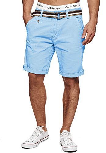 Indicode Herren Cuba Chino Shorts mit 5 Taschen inkl. Gürtel aus 100% Baumwolle   Kurze Hose Regular Fit Bermudas Sommerhose Herrenshorts Short Men Pants Chinohose für Männer Sky Way M
