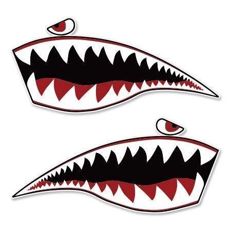 Carframes18 Warhawk Shark Tiger Vinyl Sticker - Car Window Bumper Laptop Bumper Sticker Decal
