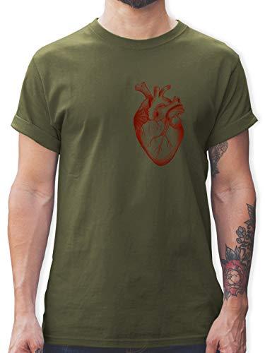 Nerds & Geeks - Herz Anatomie - L - Army Grün - Tshirt anatomie - L190 - Tshirt Herren und Männer T-Shirts