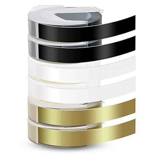 6X Pristar 9mm Kompatible Prägeband als Ersatz für Dymo 3D Kunststoff Prägebändern Selbstklebend Etikettenband Weiß auf Schwarz/Weiß auf Transparen/Weiß auf Gold für Dymo Omega und Junior Motex