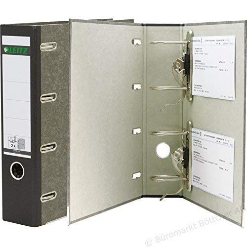 3er Pack Leitz 10920000 Standard-DoppelOrdner (A4, Rückenbreite 7,5 cm, zwei Präzisionsmechaniken, graupappe, mit Wolkenmarmor-Cover) schwarz (Doppelordner | 3er Pack, schwarz)