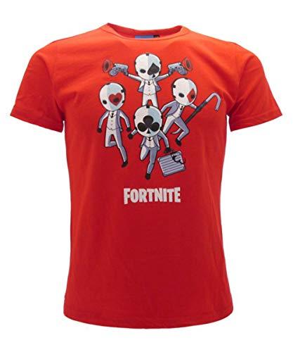 Global Brands Group T-Shirt Originale Fortnite Rossa Skin Semi Gioco Bambino Ragazzo Epic Games Maglietta (12-13 Anni)