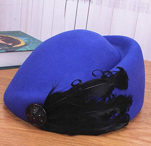 YOUZHI Señoras otoño e Invierno Retro Pluma Domo Sombrero Moda Sombrero Salvaje Fiesta al Aire Libre Compras mazo Gorra