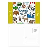 カナダ風景動物の国旗 友人のポストカードセットサンクスカード郵送側20個