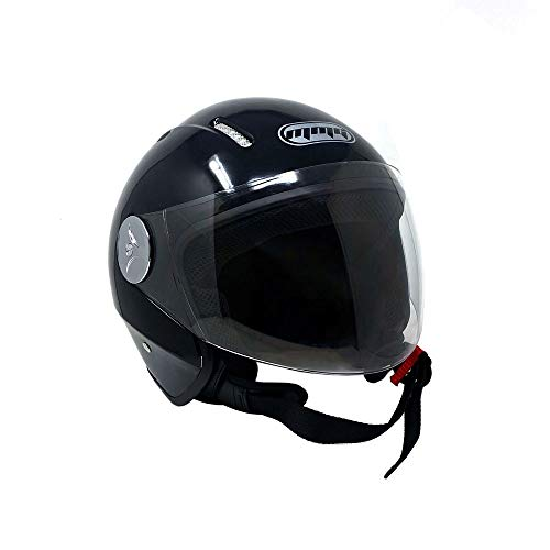 MMG Motorcycle Scooter Open Face Helmet Pilot Flip Up Visor DOT - Shiny Black 2X-Large