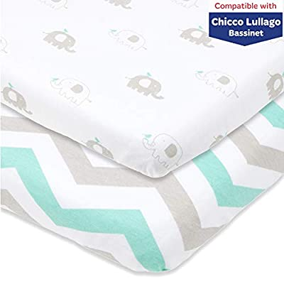Bassinet Fitted Sheets Compatible with Chicco Lullago Bassinet and Chicco Close to You 3-in-1 Bedside Sleeper – Snuggly Soft Jersey Cotton – Fits Perfectly on 19 x 32 Mattress –Grey, Mint – 2 Pack
