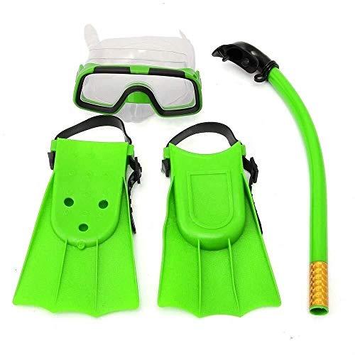 ZHUYUE Comfortabel Duikmasker Junior Snorkeling Set Duikbril Flippers Scuba Zwemmen Duiken Volledig Verstelbare Hoofdband Professionele scuba masker (Kleur: Groen, Maat : Een maat)
