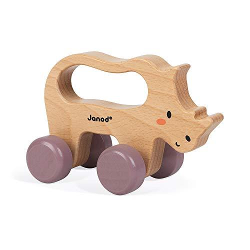 Rinoceronte de arrastre de madera - Juguete de estímulo para bebés - Desarrolla la motricidad y la imaginación - Asa ergonómica - Colaboración con WWF® - Certificado FSC - A partir de 1año