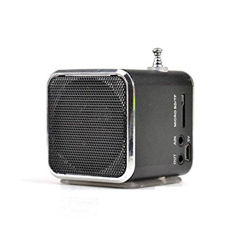 TD-V26 Card Mini Music Player FM Radio PC MP3/4Tuscom Portable Micro SD TF USB Stereo Bass Speaker (Black)