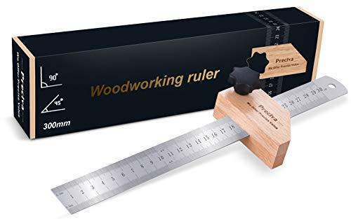Streichmaß, Preciva Anschlaglineal Anreisswerkzeug Kombinationswinkel zum Markieren von 45° und 90°, 300 mm für Holzbearbeitung, Heimwerken, Handwerk
