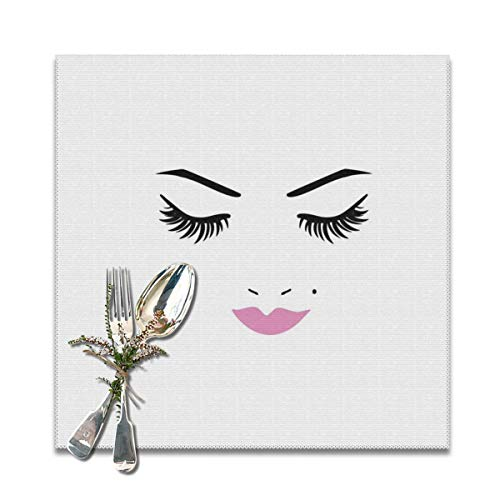 Pallowa Closed Eyes Pink Lipstick Glamor Makeup Cosmetics Beauty Feminine Design Placemats for Dining Table,Washable Placemat Set of 4, 12x12 inch