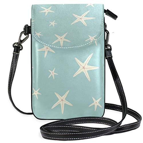 XCNGG Kleine Geldbörse White Starfish Pattern Cell Phone Purse Wallet for Women Girl Small Crossbody Purse Bags