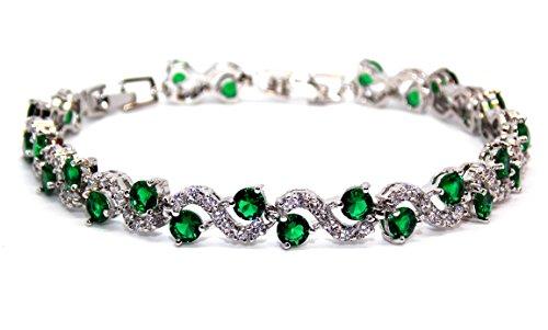18K chapado en oro blanco verde esmeralda y blanco topacio 14.01ct pulsera ajustable