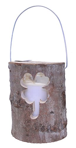 Demmelhuber Windlicht Holzstamm Ø 12 cm / 16 cm Glaseinsatz mit Kerze Holzlaterne Gartendeko Laterne (1 Stück, Ø 12 cm)