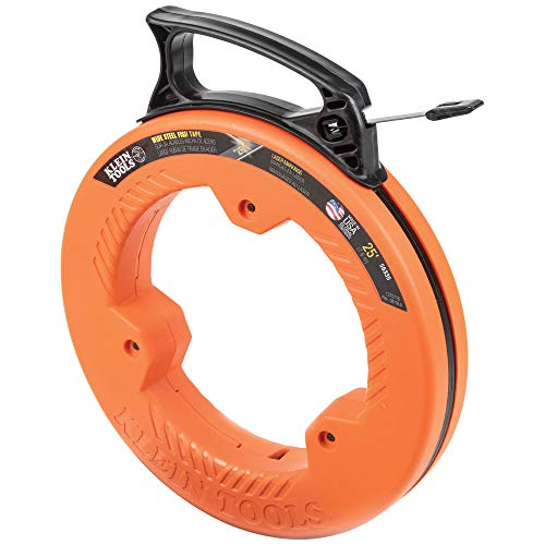 Klein Tools 56335 Fish Tape, 25-Foot 1/4-Inch Wide Spring Steel Tape, Slim Plastic Tip, Laser Etched 1-Foot Markings, Great for Short Runs
