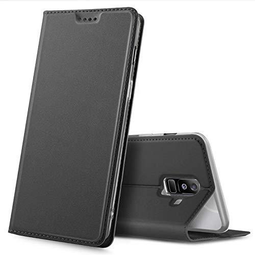 Verco Handyhülle für Galaxy A6+ (2018), Premium Handy Flip Cover für Samsung Galaxy A6 Plus Hülle [integr. Magnet] Book Hülle PU Leder Tasche, Schwarz