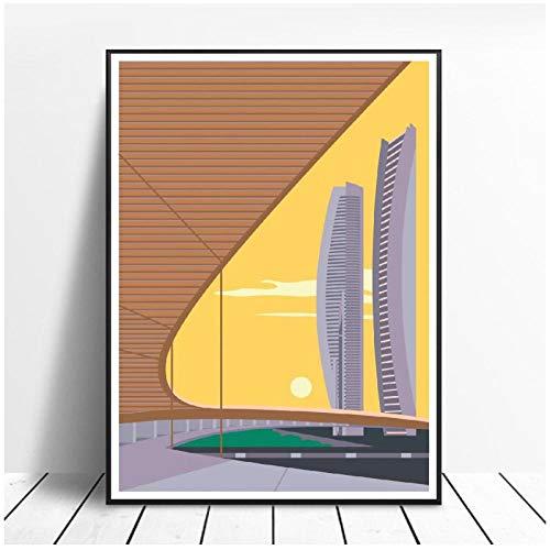 zhaoyangeng Twin Towers Leinwand Malerei Wandkunst Bilder Drucke Home Decor Poster Wanddekoration Für Wohnzimmer- 50X70Cm Ungerahmt