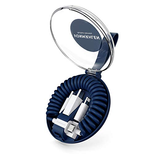 Allroundo-kabel, multi USB met 5 aansluitingen, universele en spiraalkabel, USB-A, micro-USB, USB-C, oplader 6 in 1 voor alle mobiele apparaten, 50, Blauw