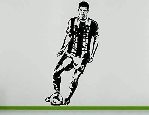Robert Lewandowski Polen Fußballer Fußballspieler Wanddekoration Aufkleber - Mittelblau, 56 cms wide x 107 cms high