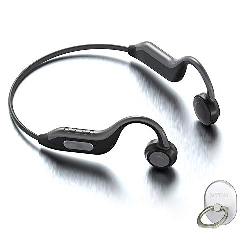 2020 Bone Conduction Headphones Open-Ear Wireless Binaural with Memory Sports Headsets Long Duration B1 Earphone-Grey(with MTOM Mobile Phone Stand)