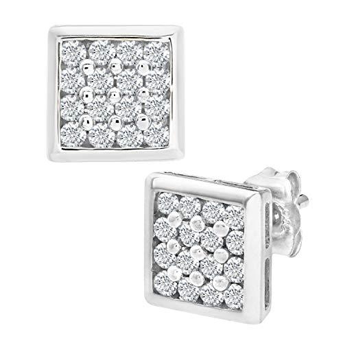 Naava Damen-Ohrstecker 9 Karat 375 Weißgold rhodiniert Diamant (0,20 ct) weiß Rundschliff PE02924W