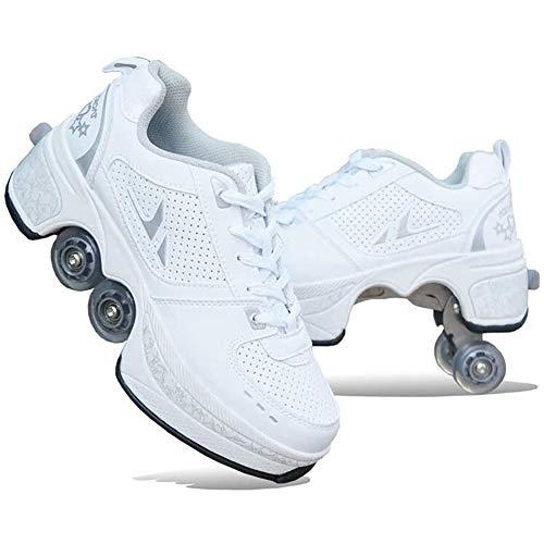 Hmyloz Unisex-kinderskateboardschoenen kinderschoenen wielturnschoenen met wieltjes skateboardwielen schoenen lopen voorbij verstelbaar skatesdesign instelbare four-wheeled deform wheel rolschaatsen