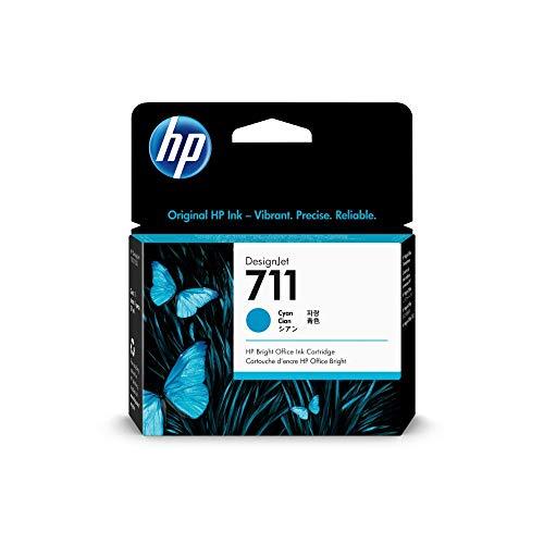 HP 711 Cyan 29 ml Original Druckerpatrone (CZ130A) mit originaler HP Tinte, für DesignJet T120, T125, T130, T520, T525, T530 Großformatdrucker sowie den HP 711 DesignJet Druckkopf