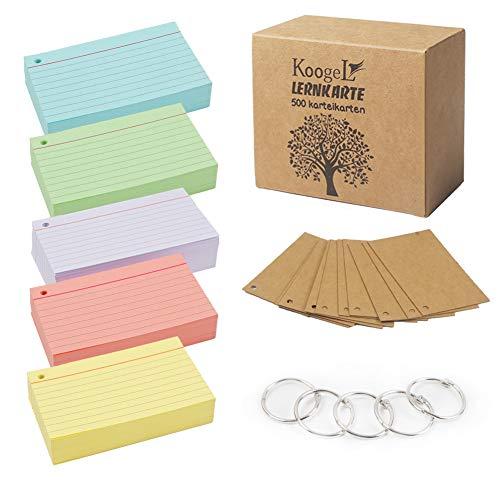 Koogel Linierte Karteikarte, 500 Stücke Linierte Karteikarten in der praktischen Lernbox für Unterwegs Vokabel Lernen